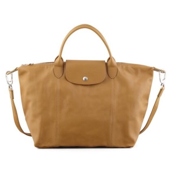 NEW Longchamp Le Pliage Leather Cuir XL Camel Tote